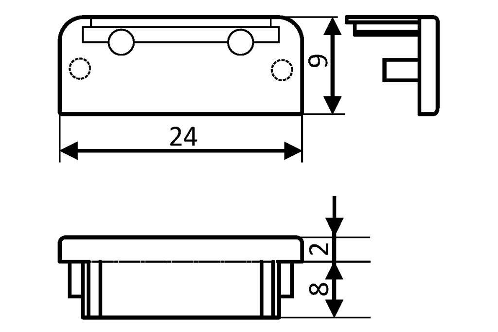 Eindkapjes voor LED profiel FLUID14 Set van twee, met of zonder kabelgat