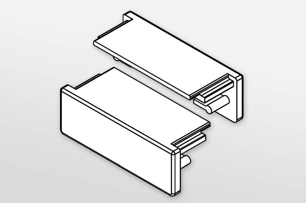 Eindkapjes voor LED profiel STRETCHED Set van twee, met of zonder kabelgat