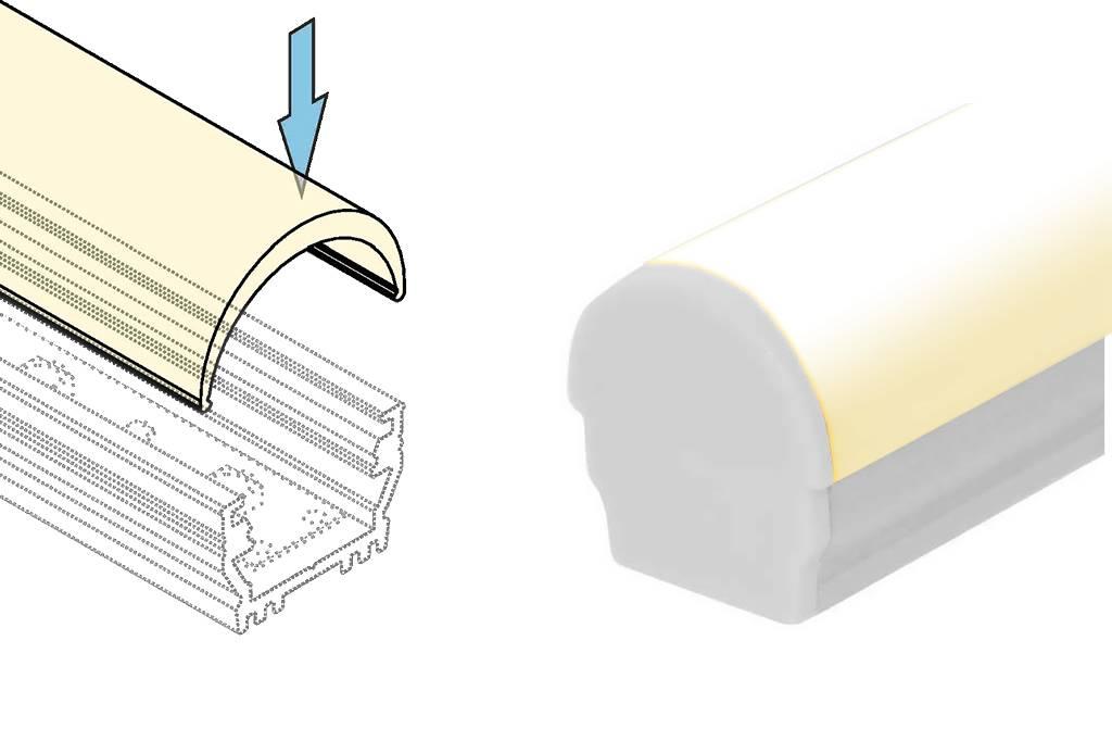 Cover D ClickOver  halfronde melkwitte kap in 1m of 2m lengte voor profielen OMNI en WALL