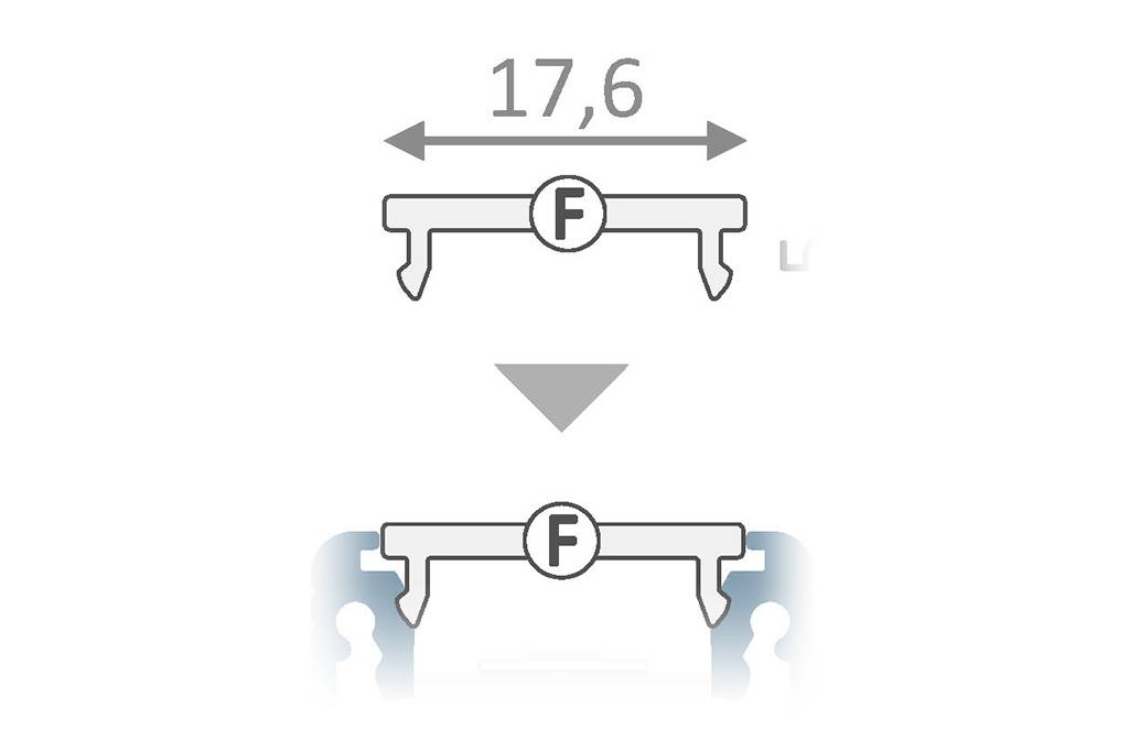 Cover F Clickon in 1m of 2m lengte voor profiel type FLUID14,LINEA14, ANGLE14 en NOVA
