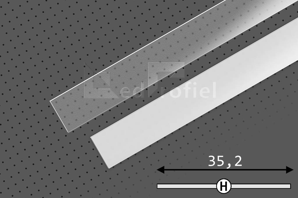 Cover H Slide in 1m of 2m lengte voor LED profiel SMOOTH