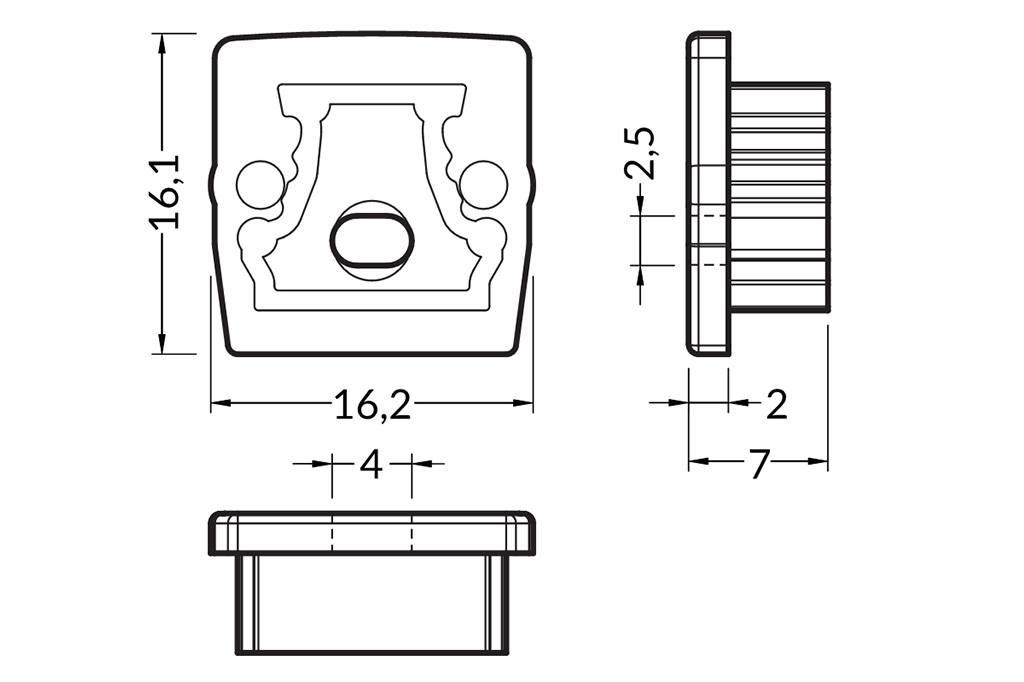 Eindkapjes voor LEDprofiel STEPON Set van twee, met of zonder kabelgat