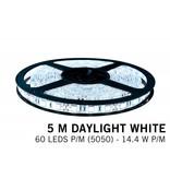 Koel witte LED strip 60 leds p.m. - 5M - type 5050 - 12V - 14,4W/p.m