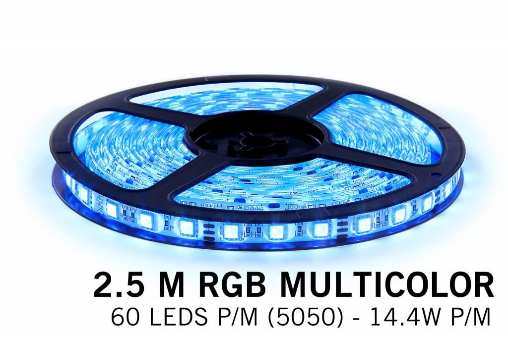 RGB LED strip 2,5 meter, 150 leds type 5050 12V (IP65)