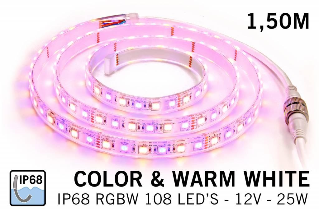 Waterdichte RGBW LED strip IP68 met 360 leds, 1.5m 12V 25W