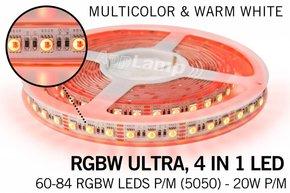 RGBW ULTRA LED strip 60 - 84 LED/m, 4 IN 1 LED, 2.5M - 5 M, 12V/24V