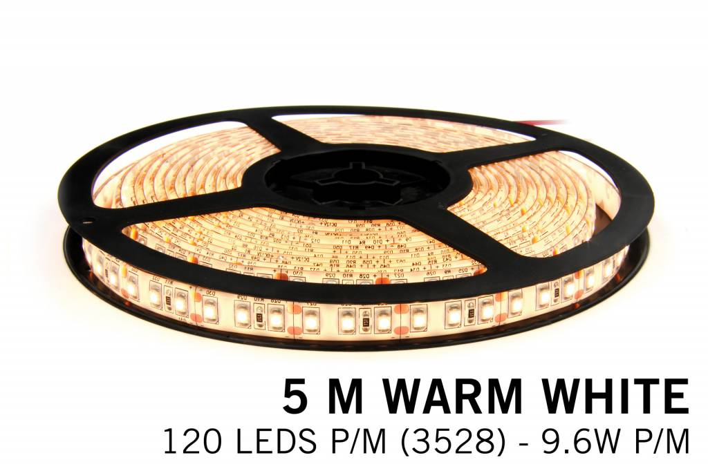 Warm Wit LED strip 120 leds p.m. - 5M - type 3528 - 12V -9,6 W p.m.