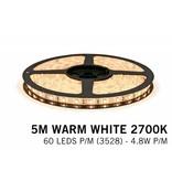 Warm Wit LED strip (2700K) 60 LED's p.m. type 3528 - 5M - 12V - 4,8W p.m.
