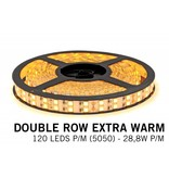 5M Extra Warm Witte Ledstrip 2200K, dubbele rij 5050, 28.8W P/M 12V