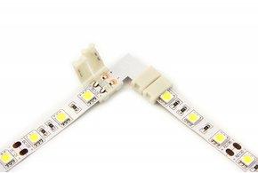 Witte LED strip 90° hoek L-connector, soldeervrij, 8 of 10mm breed