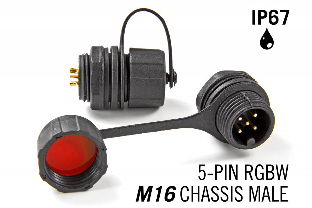 M16 5-polige IP67 Waterdichte Chassis Kabel Connector Male - RGBW