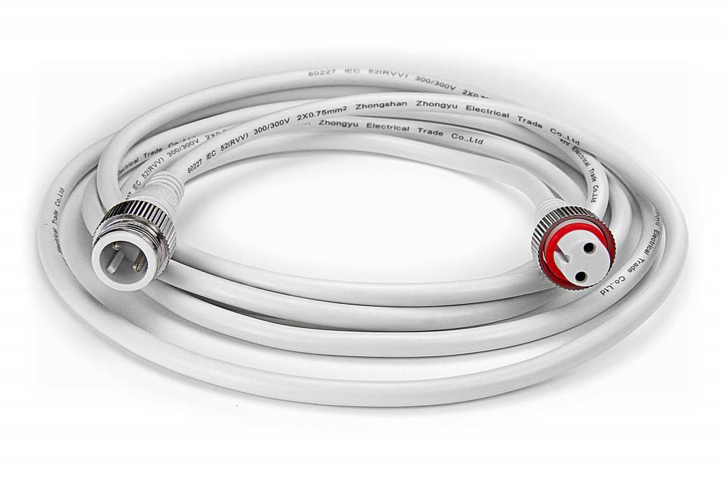Witte LED strip waterdichte verlengkabel 2 meter, DC jack, IP68