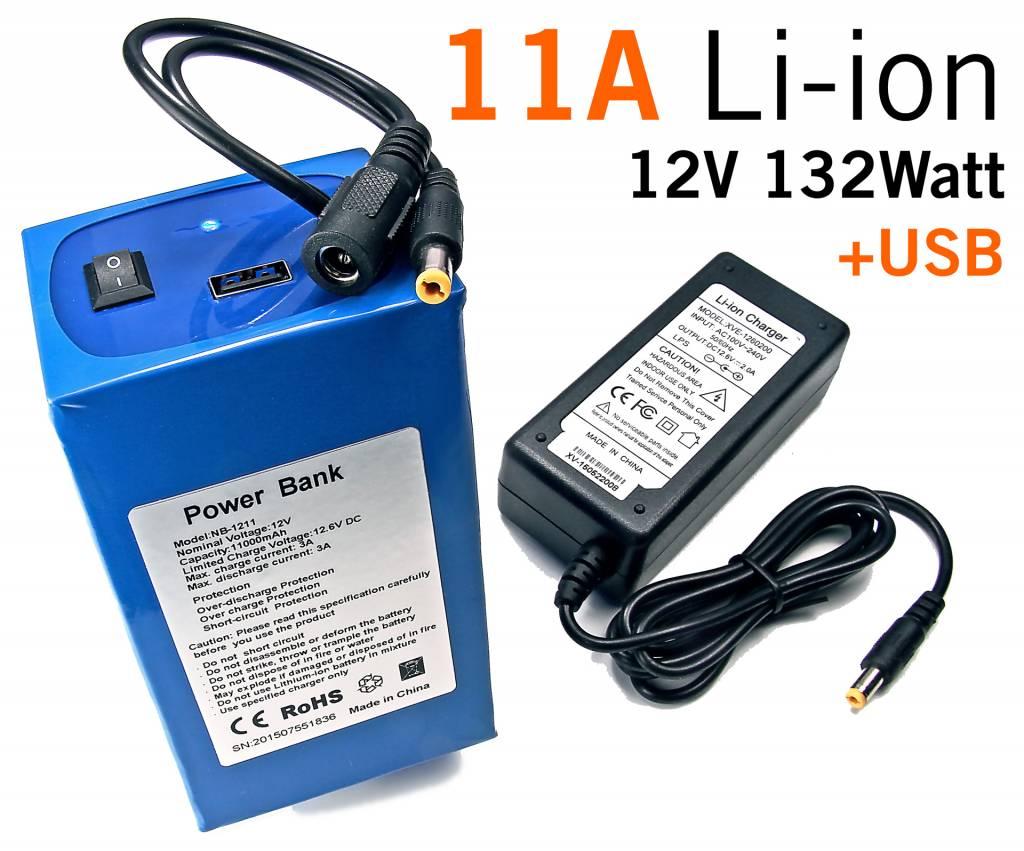 11 Ampere 12V Li-Ion Batterij pack - Power Bank 11A 12V 132W & USB Out
