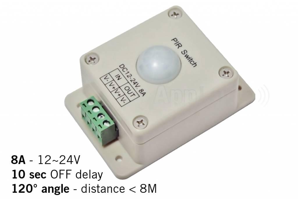 PIR bewegingssensor / bewegingsmelder, 12-24V / 8A, 120° hoek, 10 sec