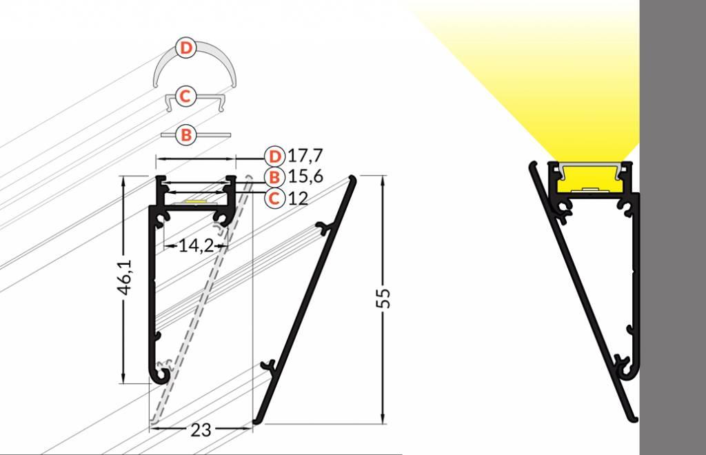 WALL 12mm Opbouw LedProfiel 1-2m (wit / alu)