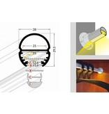 OBAR 20mm Ovaal Garderobe Led Profiel 1m-2m