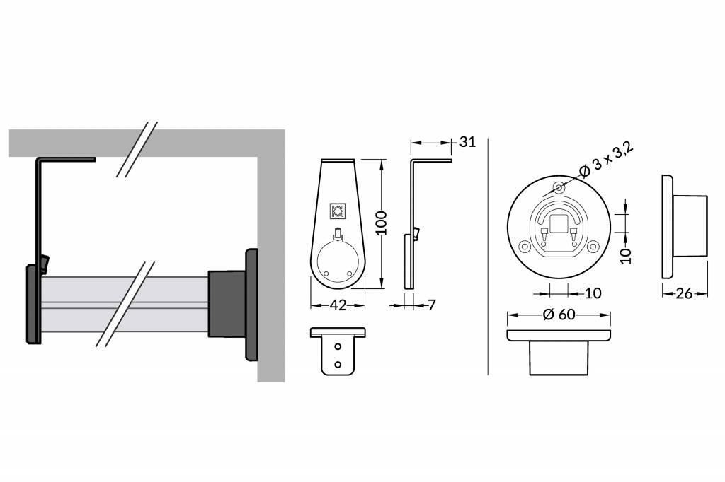 OBAR beugelset voor gecombineerde hang -en wandmontage