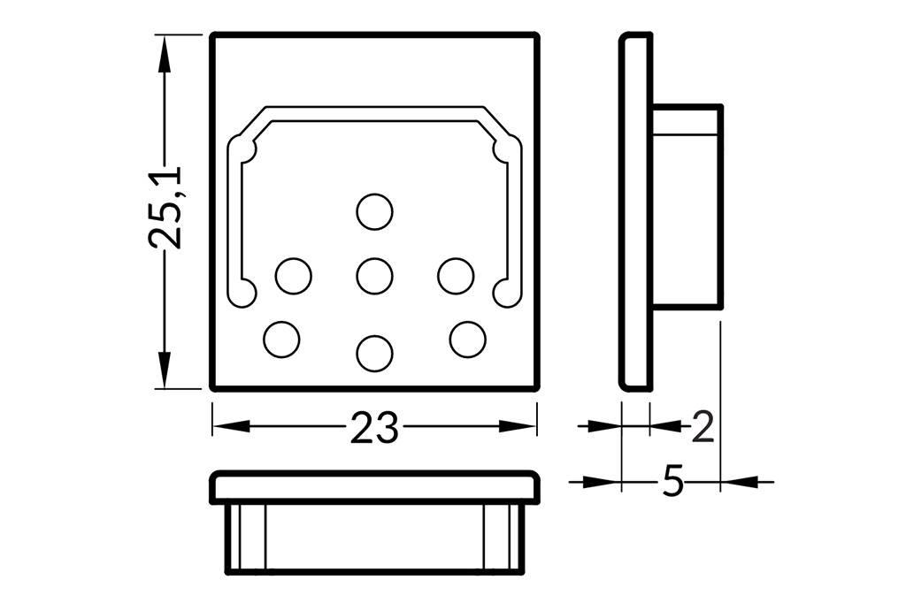 Eindkapjes voor LED profiel NOVA20. Set van twee