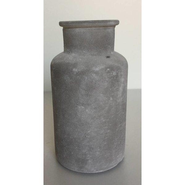 Glasflasche/vase frosted, grau, klein