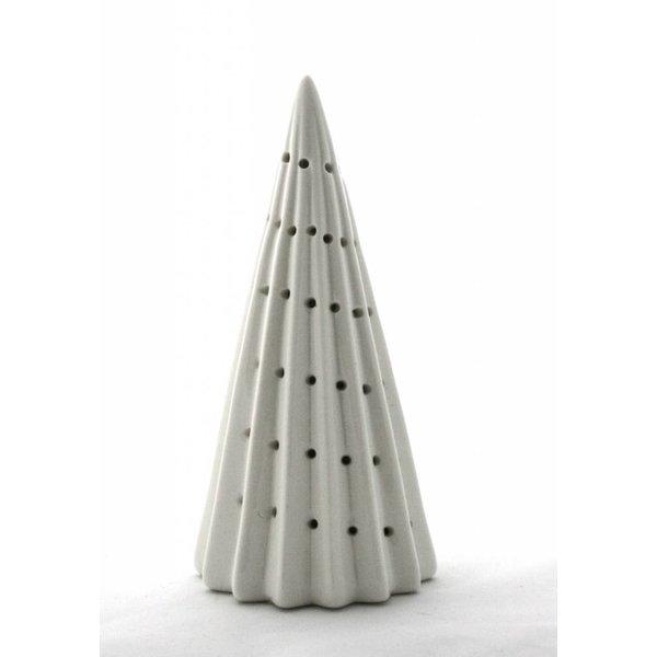 Keramik Weihnachtsbaum mit LED Beleuchtung - mit Längsrillen