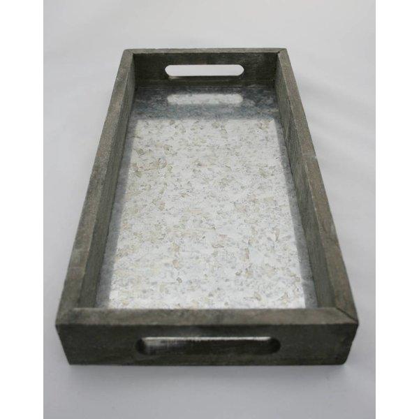 Holz-Zink Tablett rechteckig