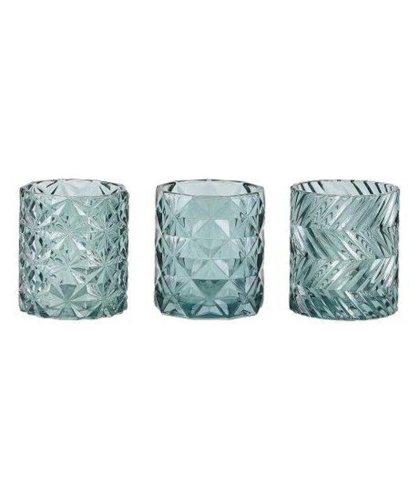 KJ Collection Teelichthalter mit Muster- 3 er Set  - grün - Glas