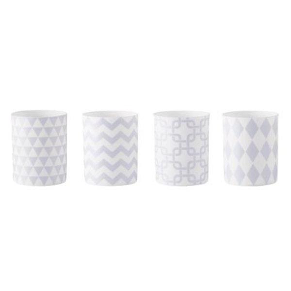 Teelichthalter mit Grafikmuster 4 er Set ozeanblau weiß