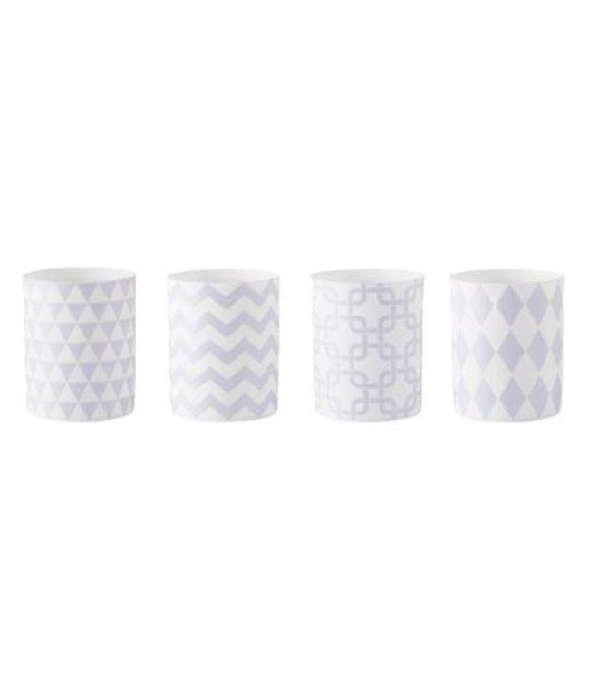 KJ Collection Teelichthalter mit Grafikmuster 4 er Set ozeanblau weiß
