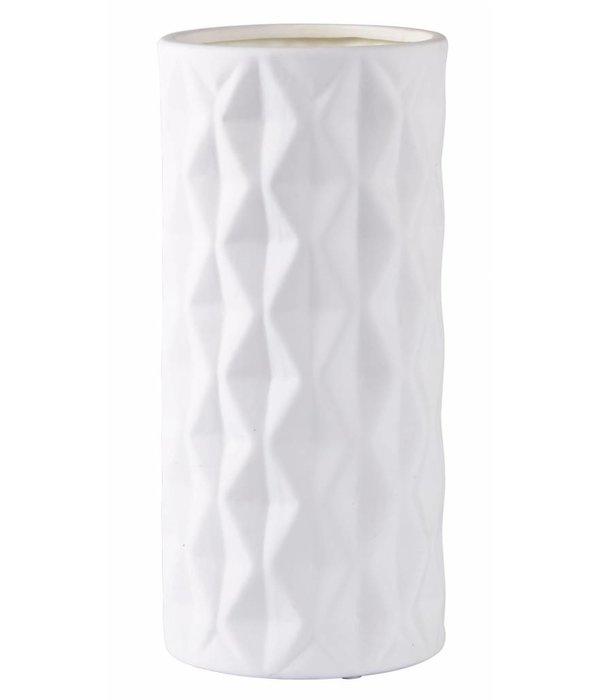 KJ Collection Vase  Retro Style weiß Keramik