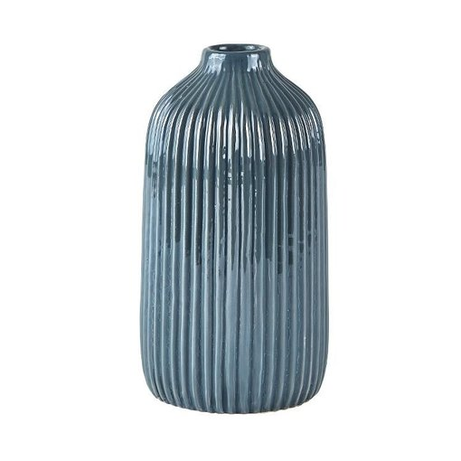 KJ Collection Vase Dolomit dunkelgrau/blau mittel