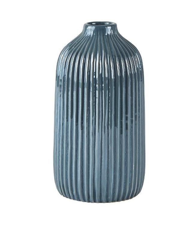 KJ Collection Vase Dolomit dunkelgrau/blau mittel