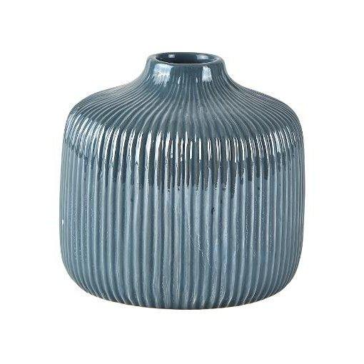 KJ Collection Vase Dolomit dunkelgrau/blau mittel tief