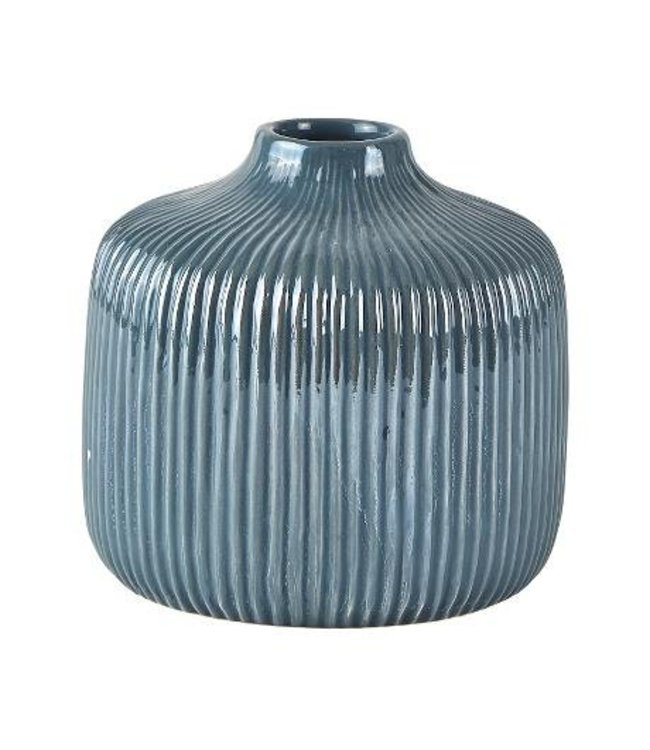 KJ Collection Vase Dolomit dunkelgrau/blau mittel tief