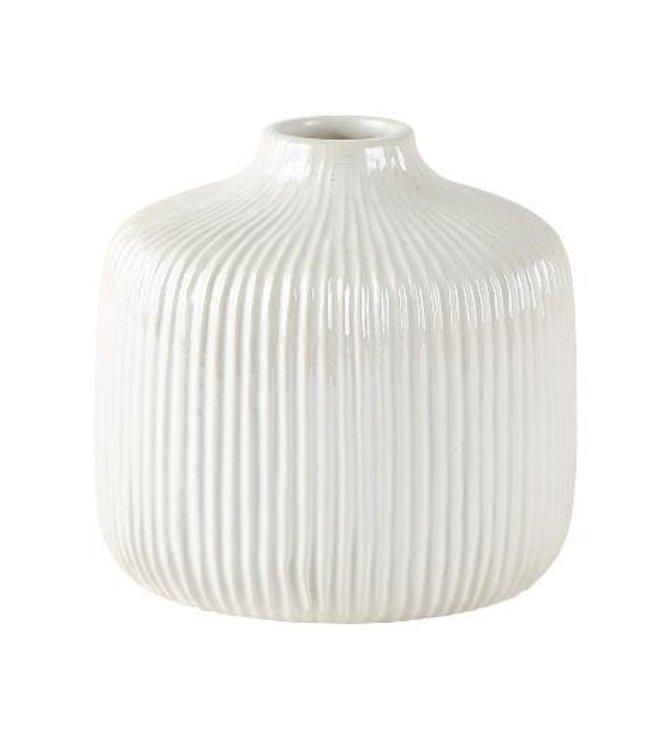 KJ Collection Vase Dolomit weiß/creme mittel tief