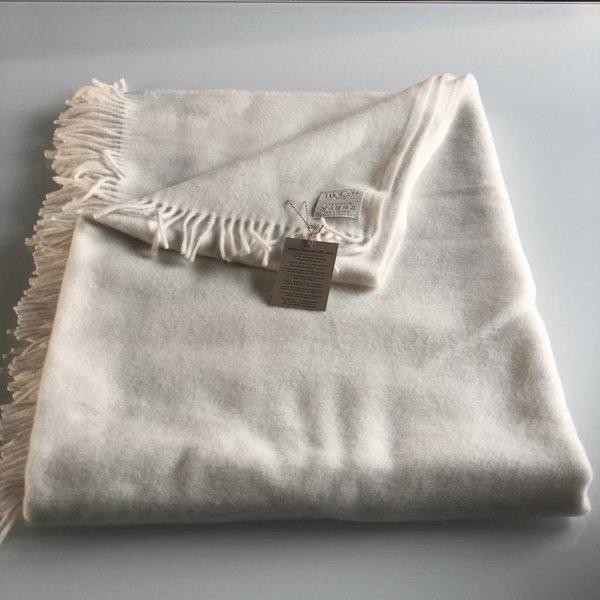Plaid Decke aus Schafwolle 100% Natur weiß