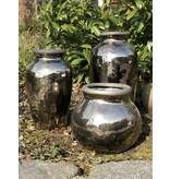"Vase/Übertopf  ""Arizona"" Keramik H 12 cm  schwarz/silber"