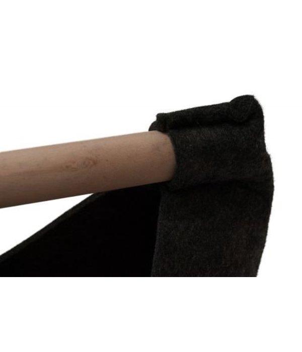 Filztasche, Bastelkorb  anthrazit  mit Holzhenkel mittel