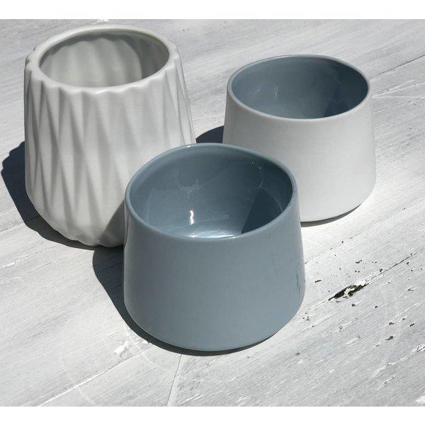 Teelichter weiß 3er Setg rau /weiß