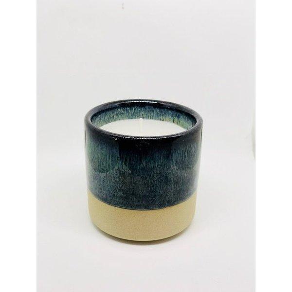 Kerze in Keramikbehälter Créton Maison  Blau/grün/braun