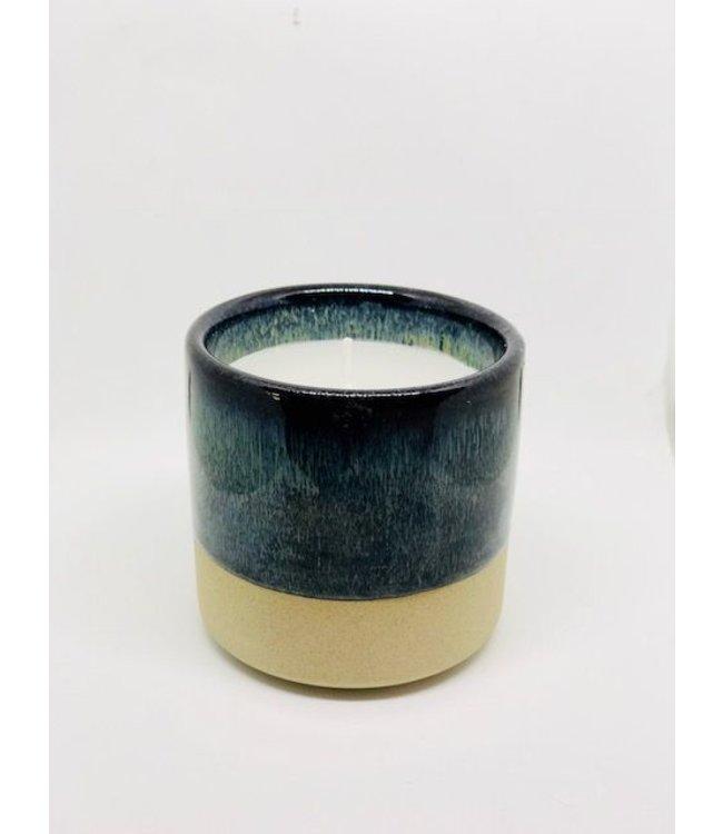Créton Maison ´Kerze im Keramikbehälter Créton Maison - Blau/grün/braun