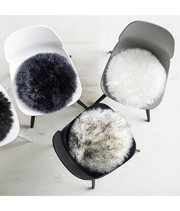 Créton Maison Lammfell Sitzkissen - Rund Ø 34 cm - Lammfell - Weiß