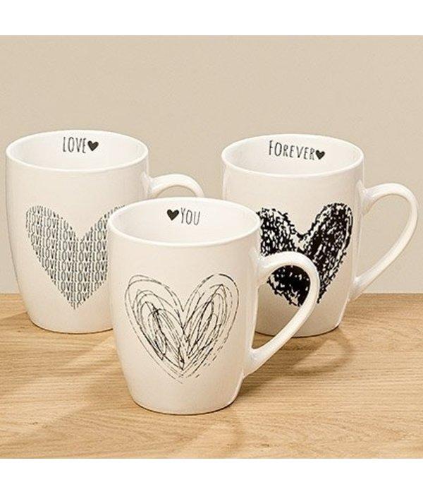 Boltze 3er Set Tasse in weiß mit Herzen in schwarz