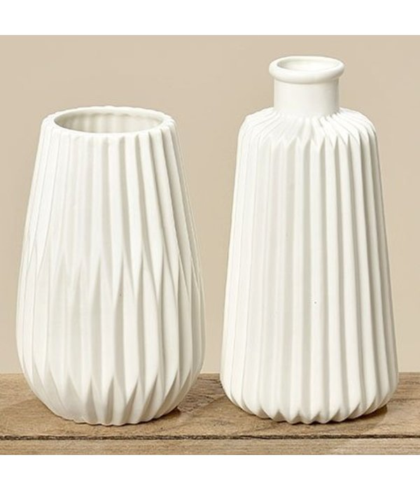 Boltze Vase Set  Origami weiß