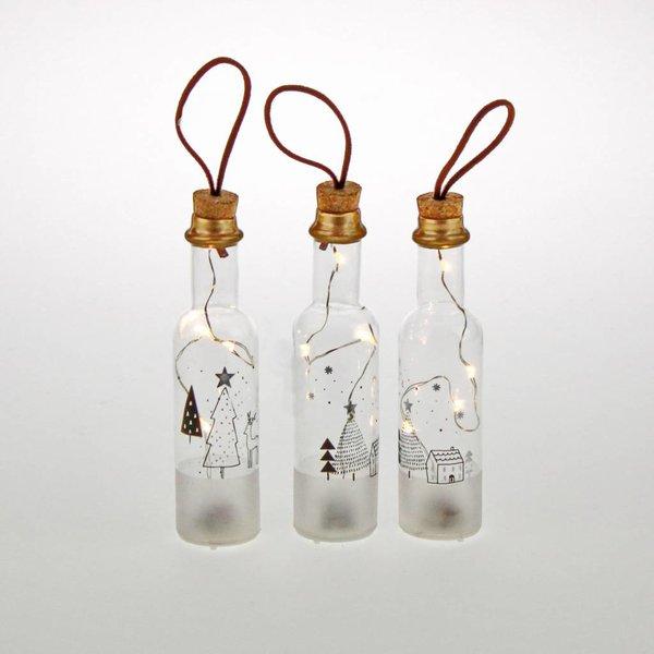 Dekoflaschen LED mit Wintermotiv 3 er Set