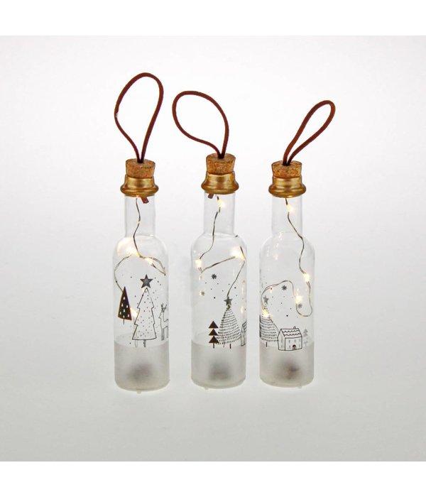 Werner Voss  Dekoflaschen LED mit Wintermotiv 3 er Set