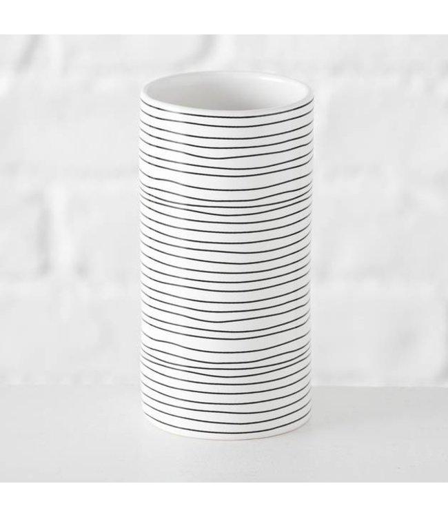 Boltze Vase Sannie  H14 cm schwarz weiss