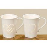 Boltze 2er Set Tasse in weiß mit Herz