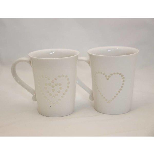 2er Set Tasse in weiß mit Herz