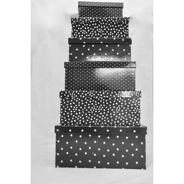 Geschenkboxen 6er Set schwarz Bullerbü