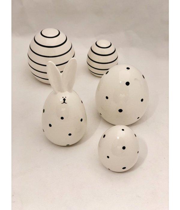 Boltze Hase Frido   17 cm weiß/schwarz Punkte
